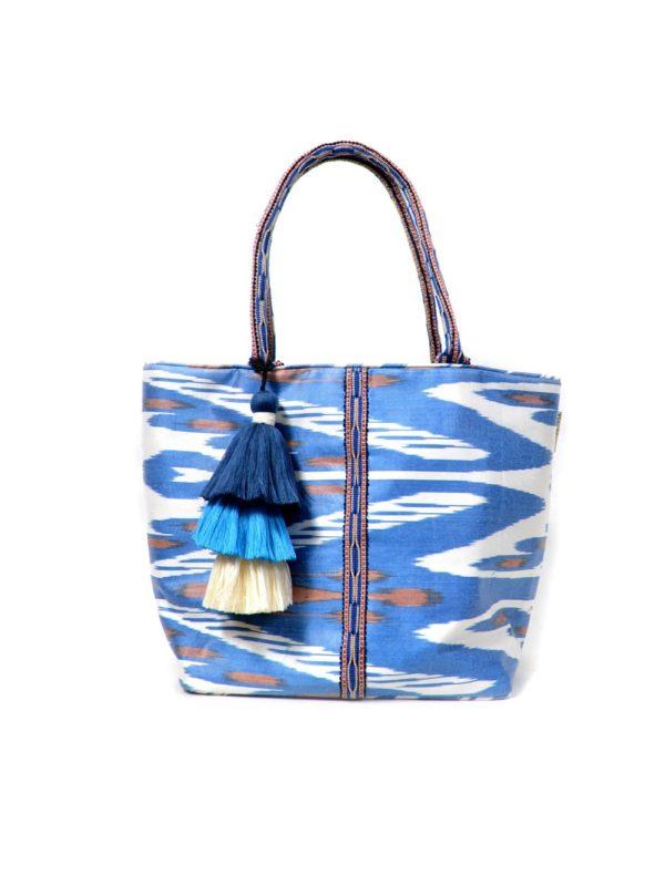 Ikat Bag with Pom-Poms