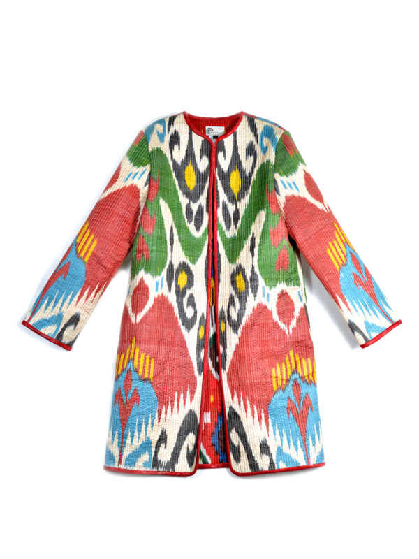 Multicolor Quilted Ikat Jacket