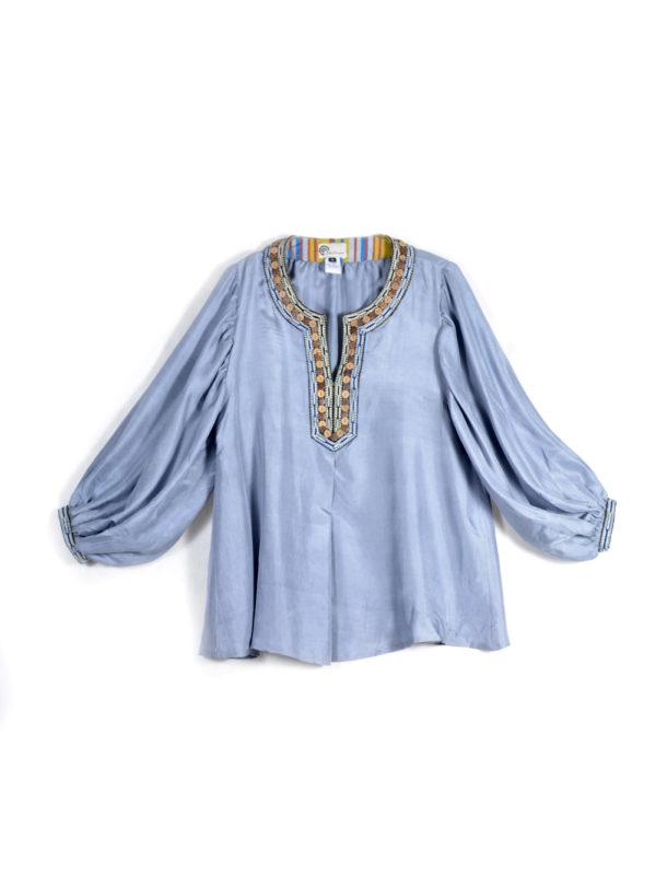 Powder Blue Silk Top