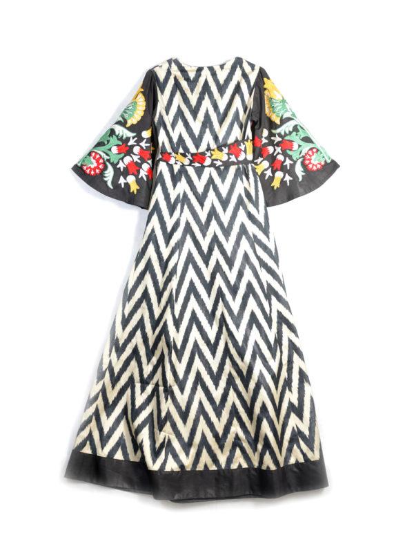 Asma Embroidered Ikat Maxi Wrap Dress