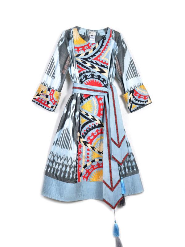 Amina Suzani Ikat Dress with Sash
