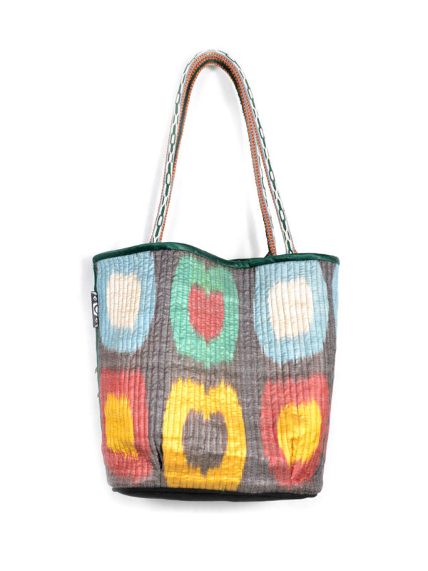 Tumor Decorated Quilted Ikat Bag