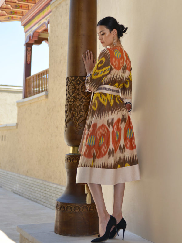Amina Ikat Dress with Embroidery