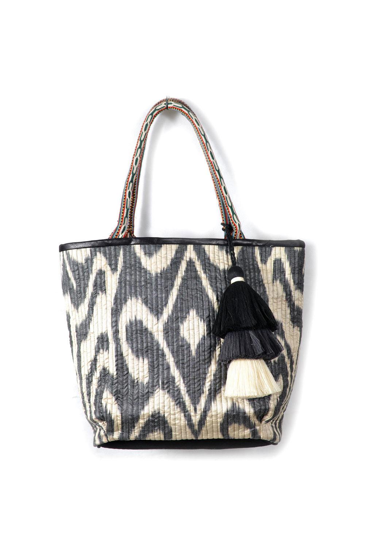 Quilted Ikat Bag With Pom Poms Ik352