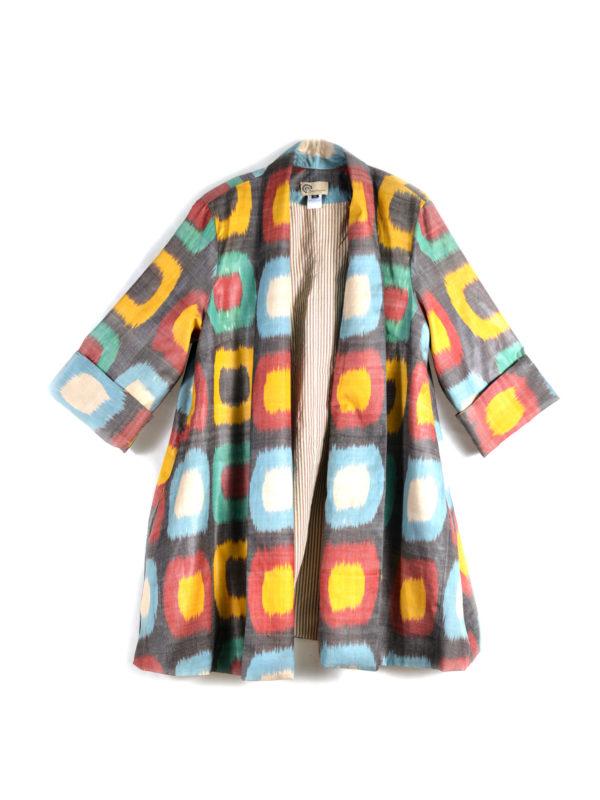 Ikat Jacket Shawl Collar